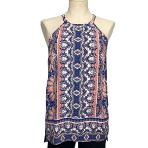 The Limited Mosaic Print Halter Tunic Top Size XS